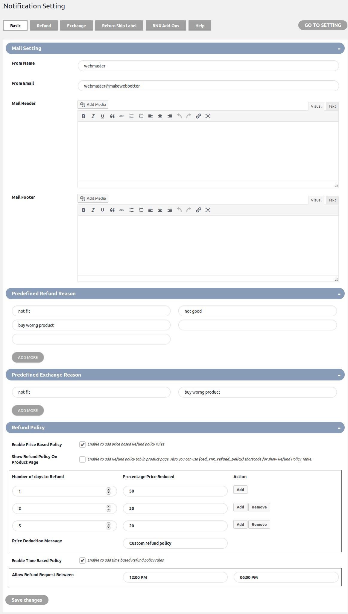 WooCommerce Refund And Exchange-BasicEmailNotification