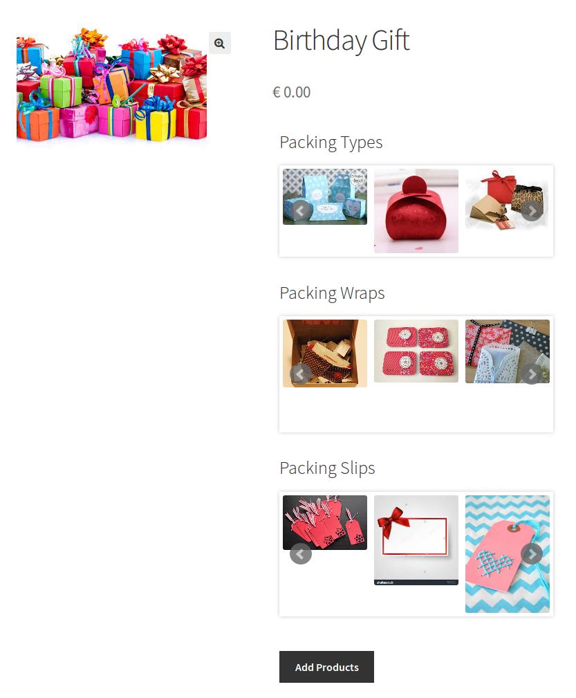 WooCommerce Celebration Product Bundle- add product bundle