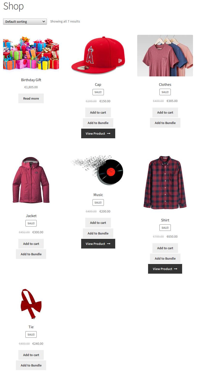 WooCommerce Celebration Product Bundle- select product
