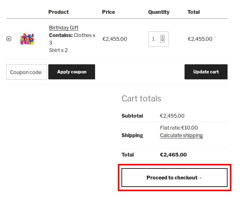 WooCommerce Celebration Product Bundle - add to cart