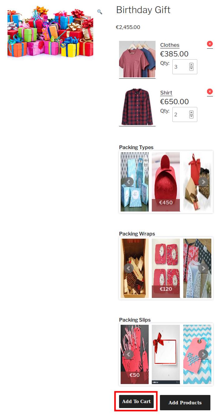 WooCommerce Celebration Product Bundle - adding the product