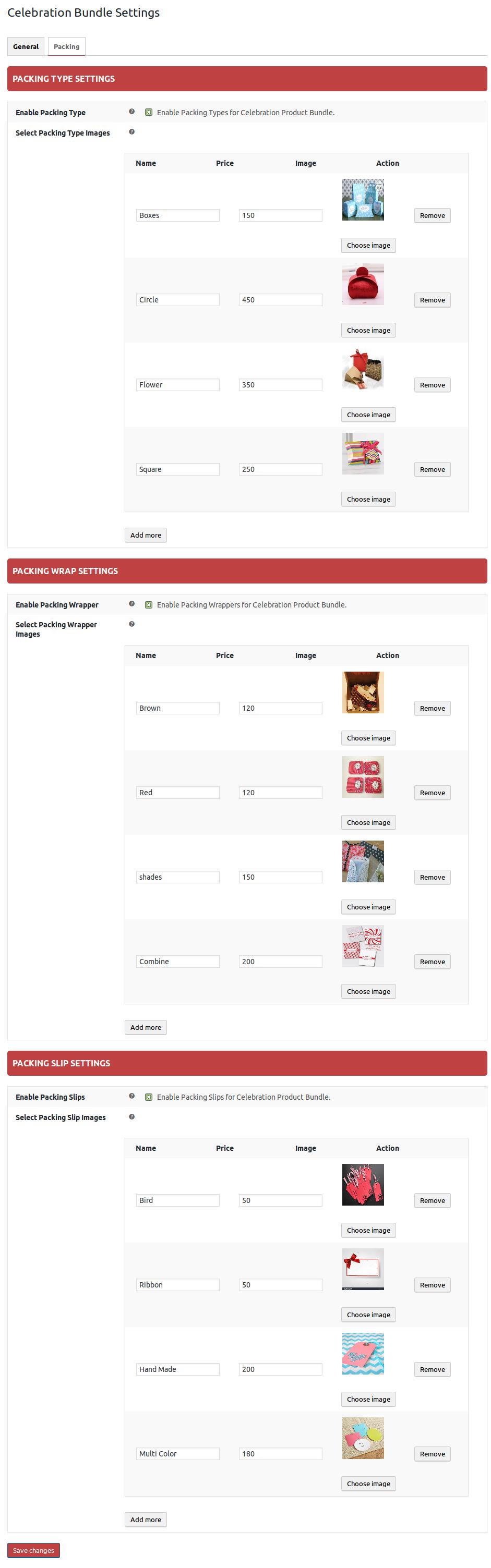 WooCommerce Celebration Product Bundle- packing slip