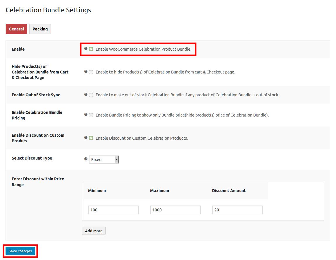 WooCommerce Celebration Product Bundle- general setting