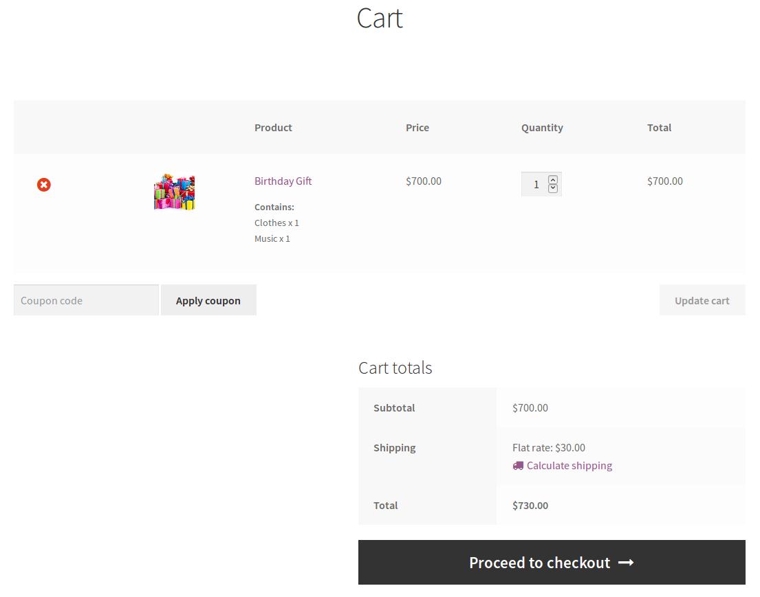 WooCommerce Celebration Product Bundle-cart