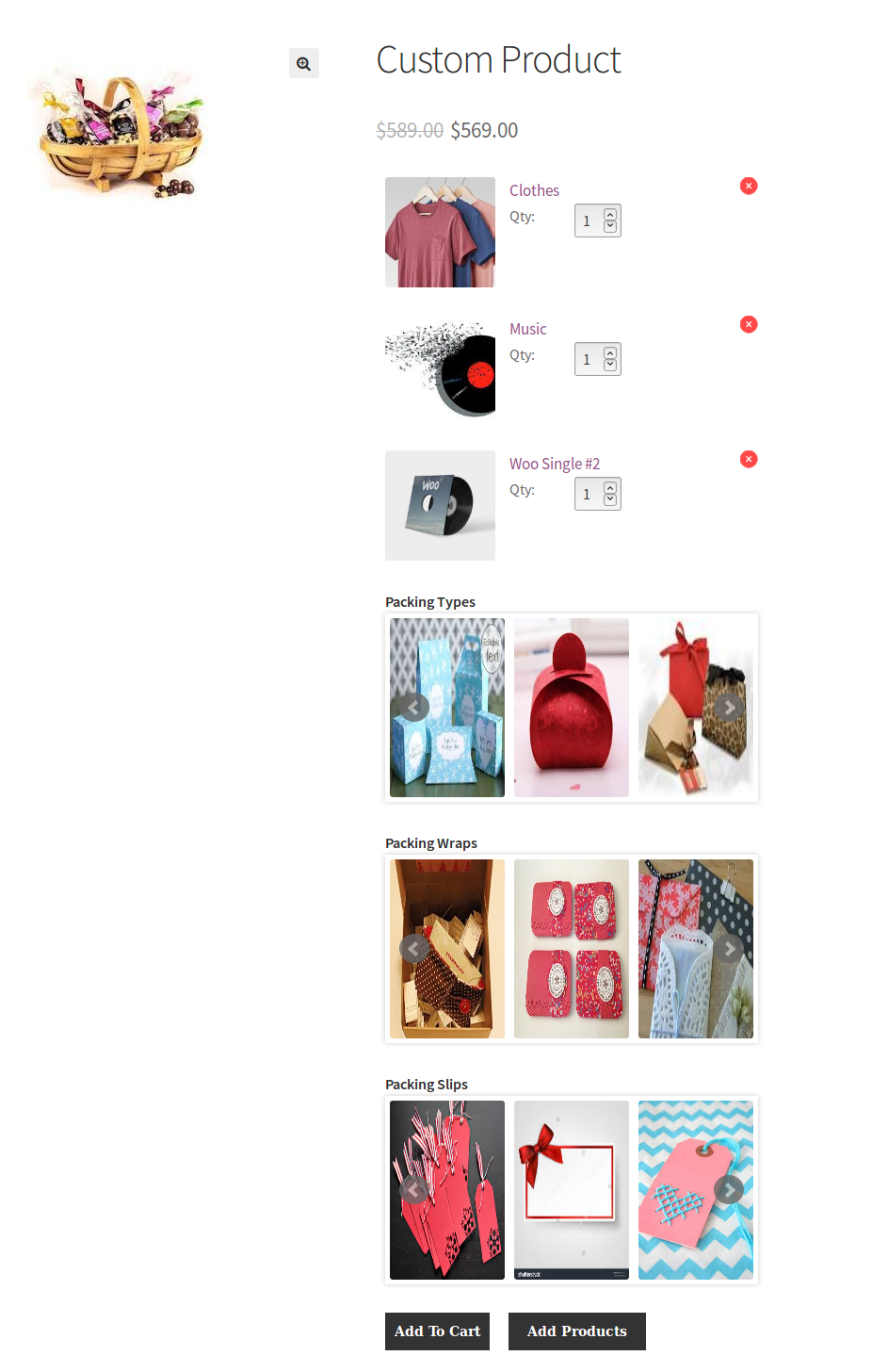 WooCommerce Celebration Product Bundle- front custom product