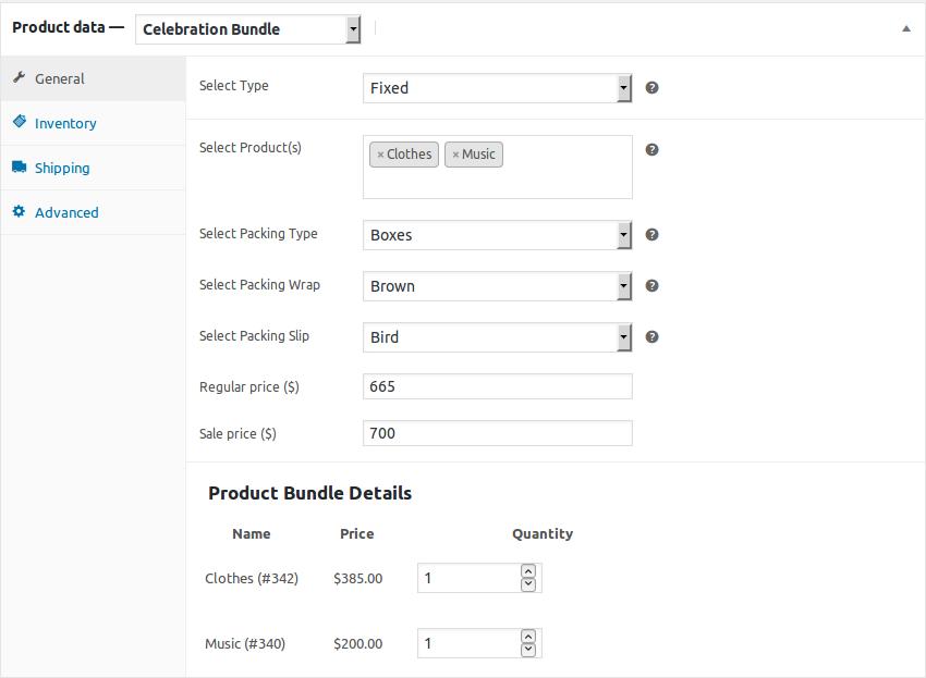 WooCommerce Celebration Product Bundle-fixed product setting