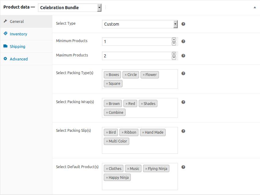 WooCommerce Celebration Product Bundle- custom product