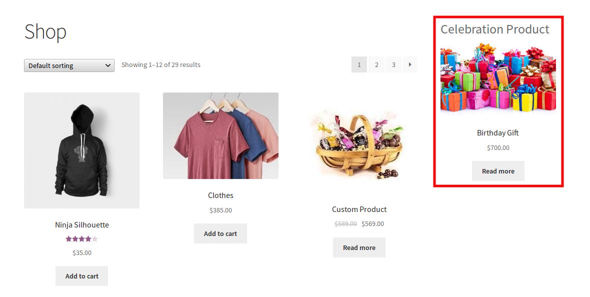 WooCommerce Celebration Product Bundle- widgets