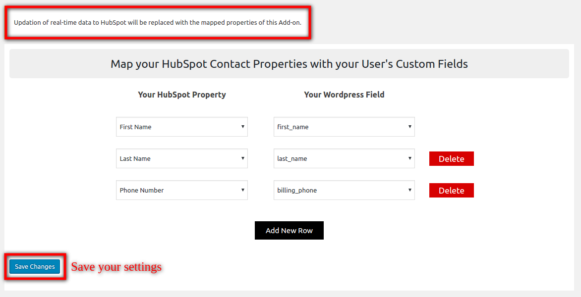 HubSpot Field to Field Sync-add-new-row