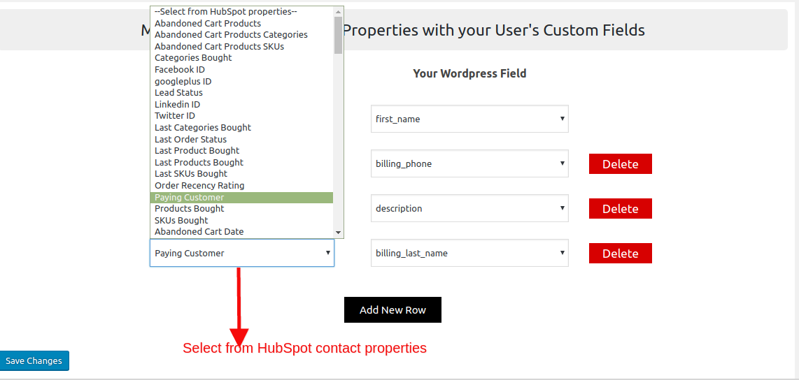 HubSpot Field to Field Sync-select-contact-properties