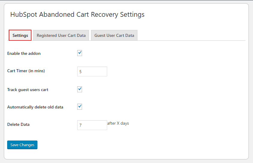 HubSpot Abandoned Cart Recovery General Setting