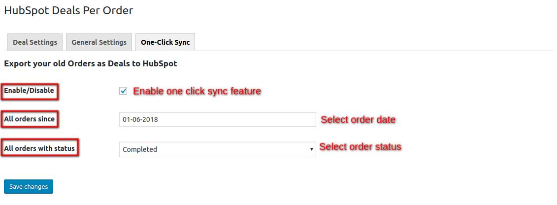 HubSpot Deal Per Order-one-click-sync