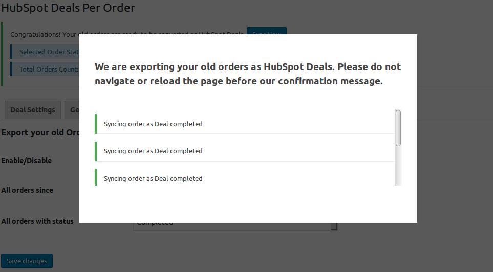 HubSpot Deal Per Order-start syncing
