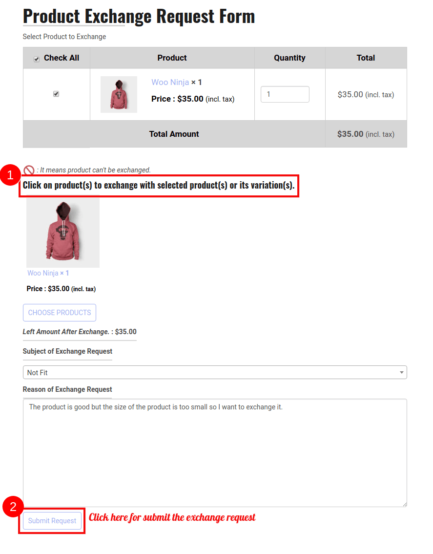 WooCommerce Refund And Exchange-Exchange-Request-Form