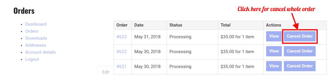WooCommerce RMA Dokan - Cancel Order Request