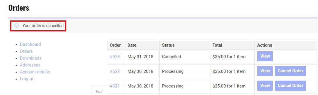 WooCommerce RMA Dokan - Order Is Canceled