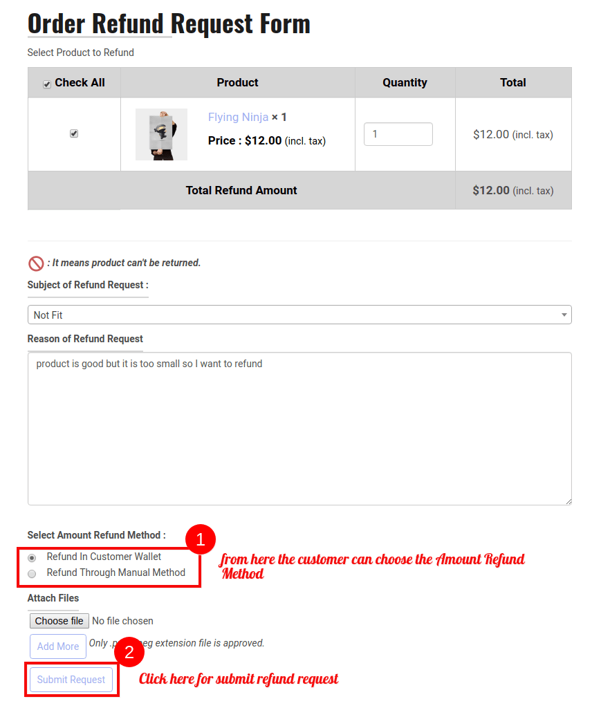 WooCommerce RMA Dokan-Refund Request Form