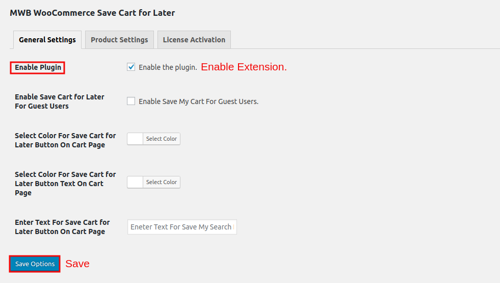 WooCommerce Save Cart for Later-EnableExtension.png