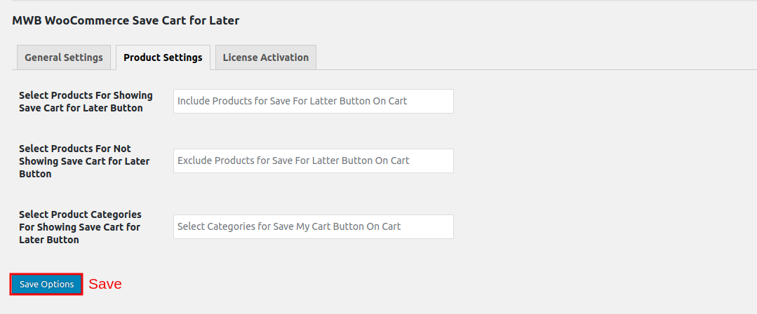 WooCommerce Save Cart for Later-productSetting.png