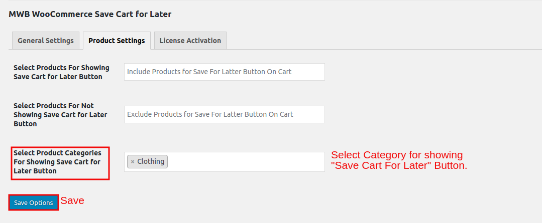 WooCommerce Save Cart for Later-CategoryForShowingButton.png