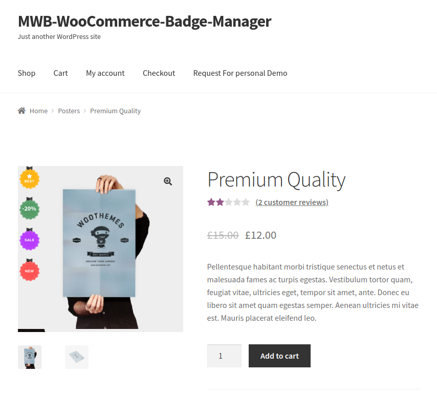 WooCommerce Product Badge Manager-front end for multiple badges