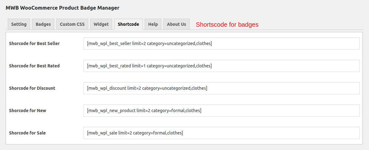 WooCommerce Product Badge Manager-shortcodes for badges