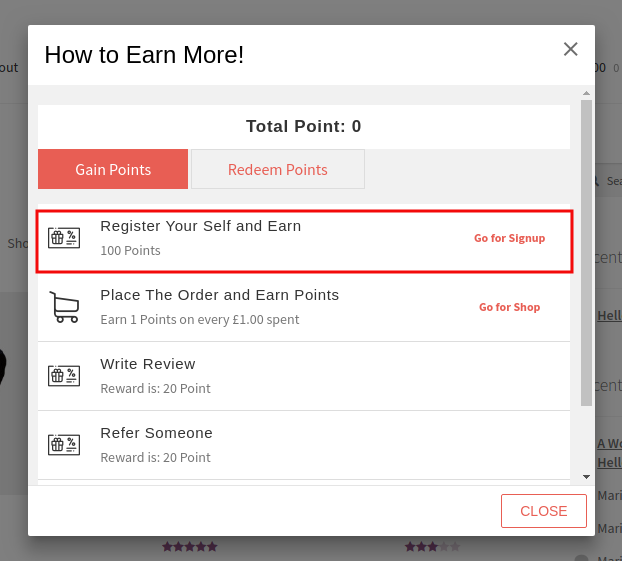 Points And Rewards Addon-Sign up