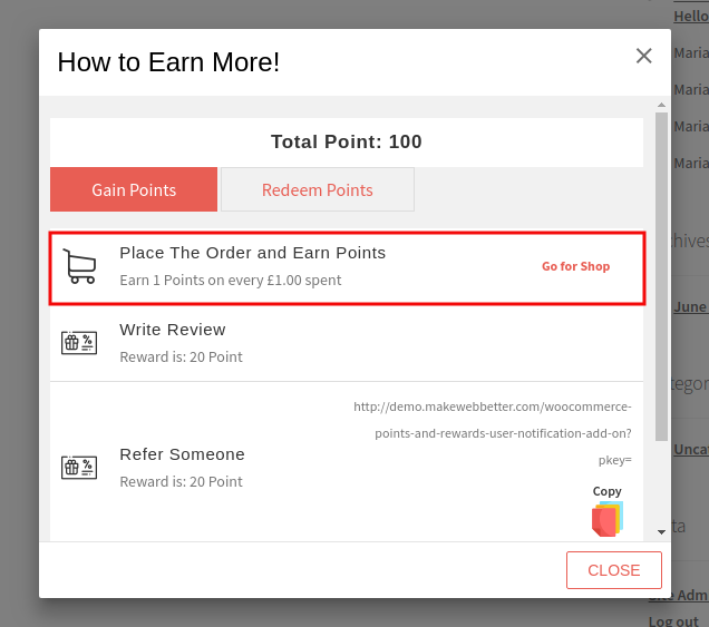 Points And Rewards Addon-Place Order