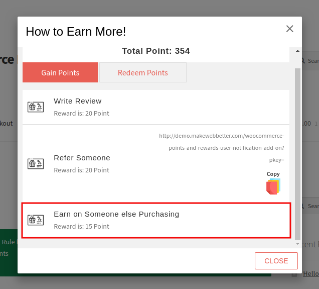 Points And Rewards-Earn Someone Else Purchase