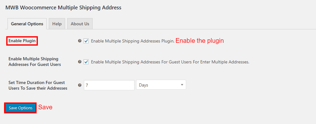 WooCommerce Multiple Shipping Addresses-AdminSetting