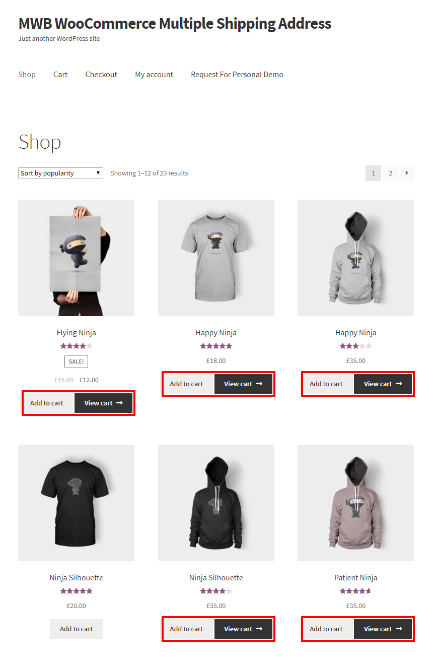 WooCommerce Multiple Shipping Addresses-Shop Page