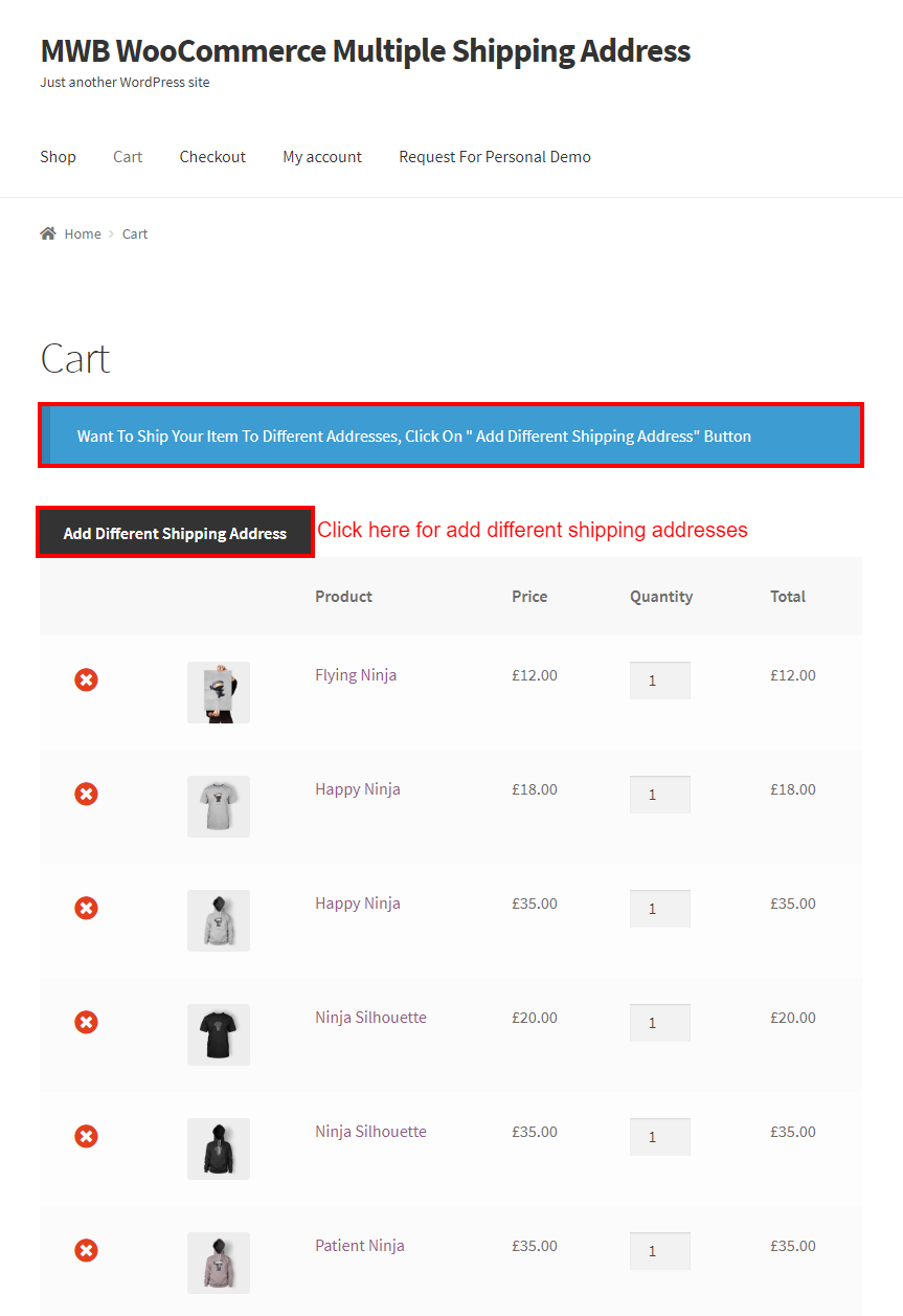 WooCommerce Multiple Shipping Addresses-Cart page