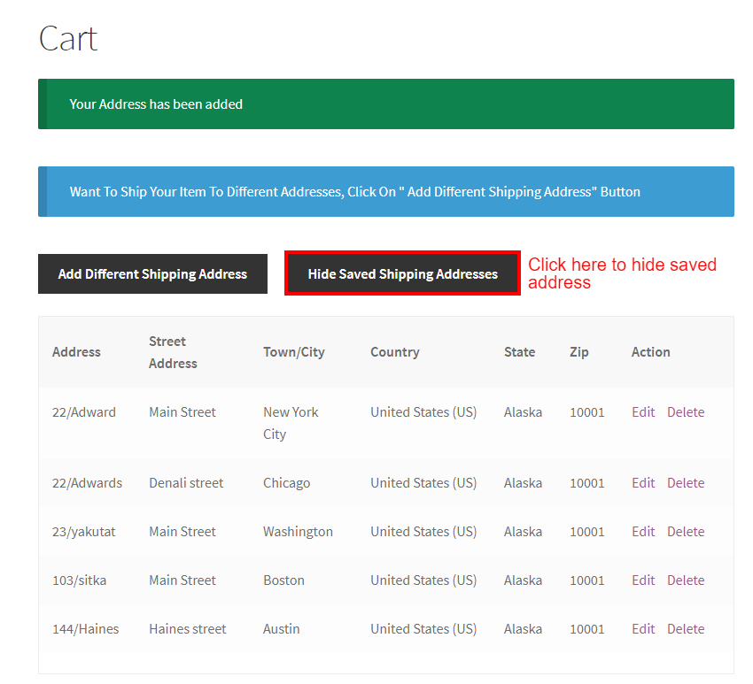 WooCommerce Multiple Shipping Addresses-All Shipping Address