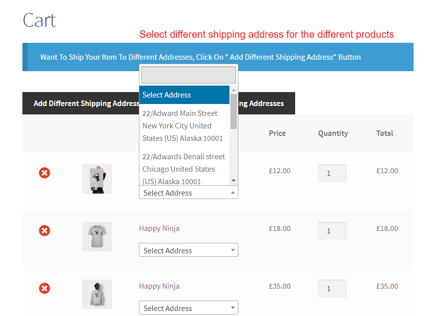 WooCommerce Multiple Shipping Addresses-Select different address