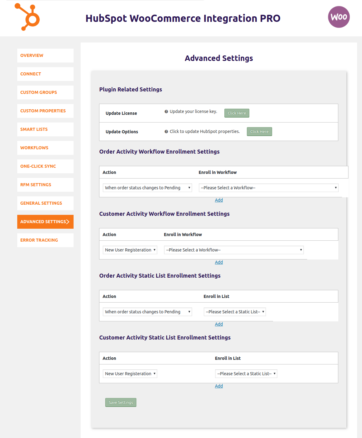 HubSpot WooCommerce Integration-enrolling-in-workflows-and-static-lists