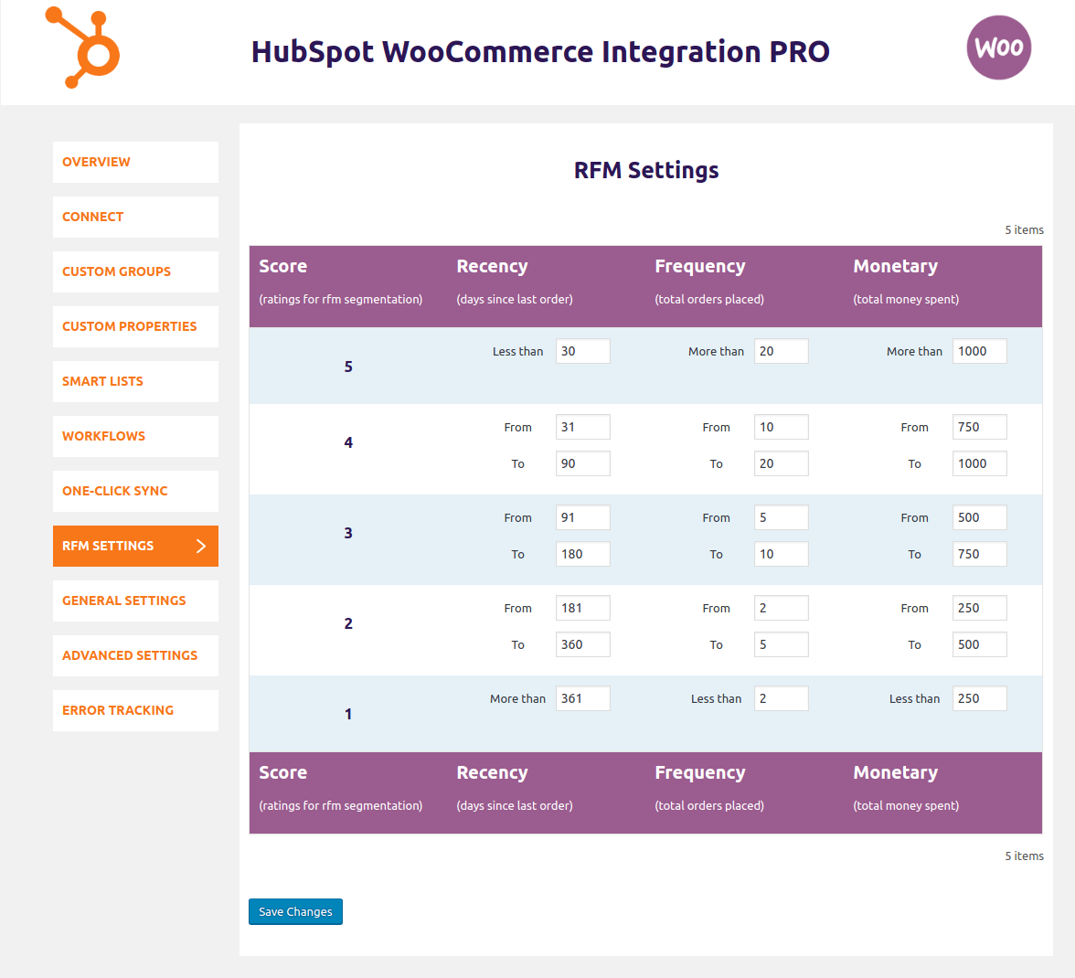 hubspot-woocommerce-integration-rfm-settings