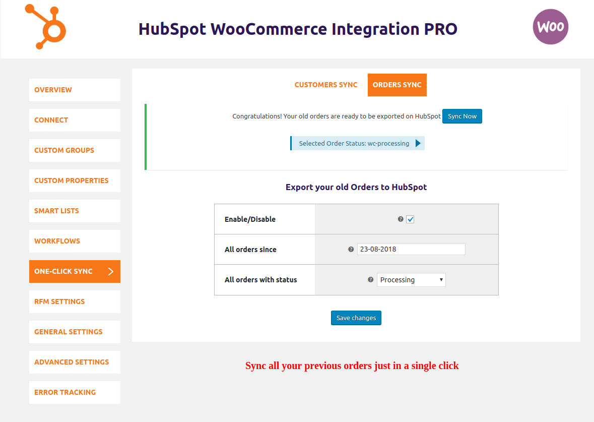 HubSpot WooCommerce Integration-order-one-click-sync