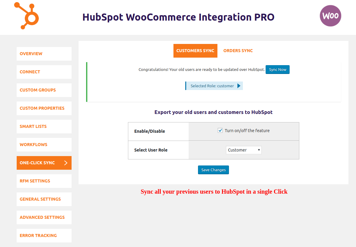 HubSpot WooCommerce Integration-one-click-sync