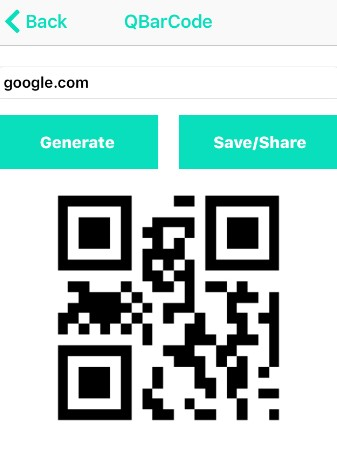 iOS – QR/BAR CODE SCANNER AND BUILDER-save-or-share-QR-code