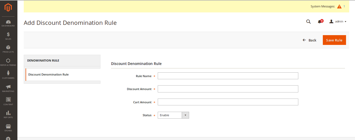 Magento2 Refer To Friend-add-discount-denomination-rule