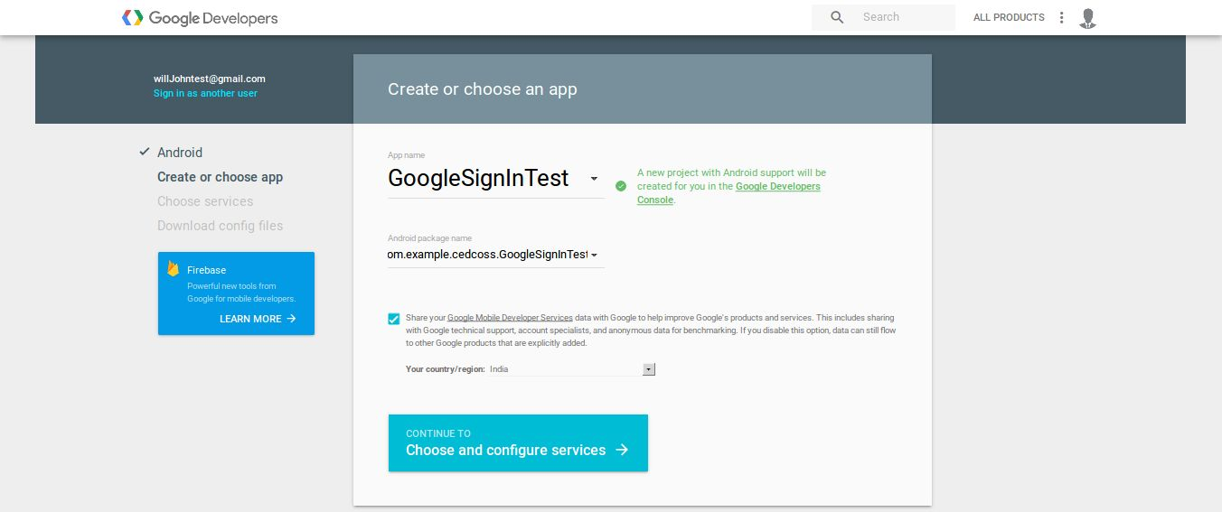 Android Social Login Package-configure