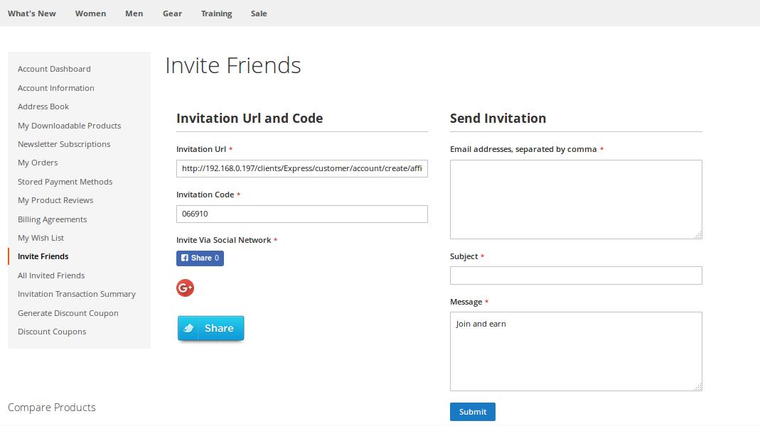 Invite Friends page