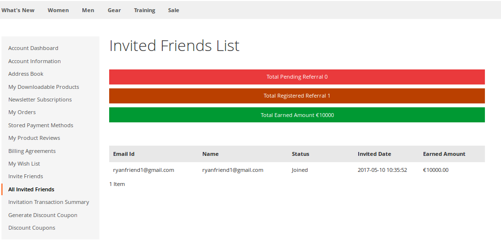 Invited Friends List