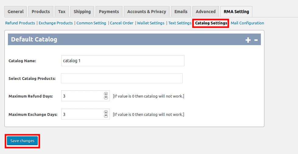 WooCommerce Refund & Exchange Dokan Addon - catalog setting
