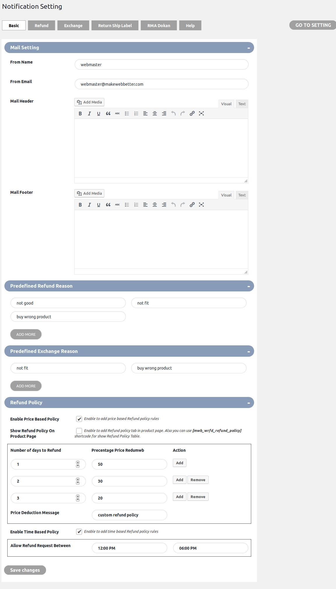 WooCommerce Refund & Exchange Dokan Addon - notification basic setting
