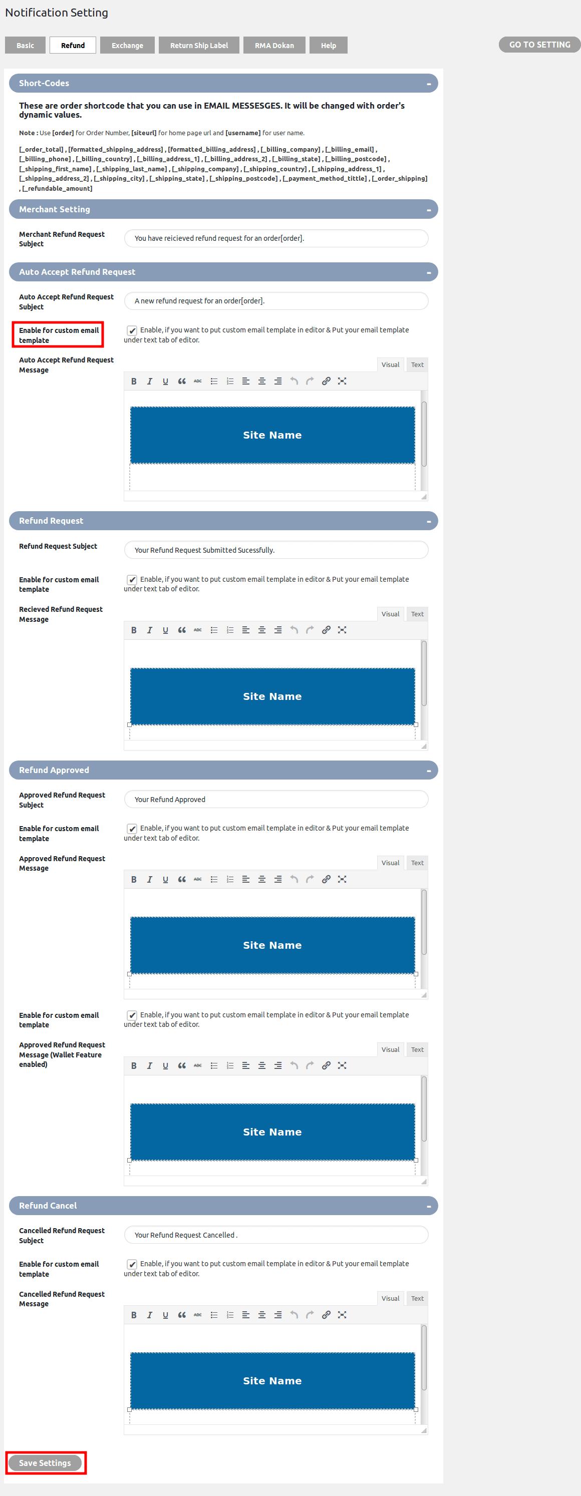 WooCommerce Refund & Exchange Dokan Addon - notification refund setting