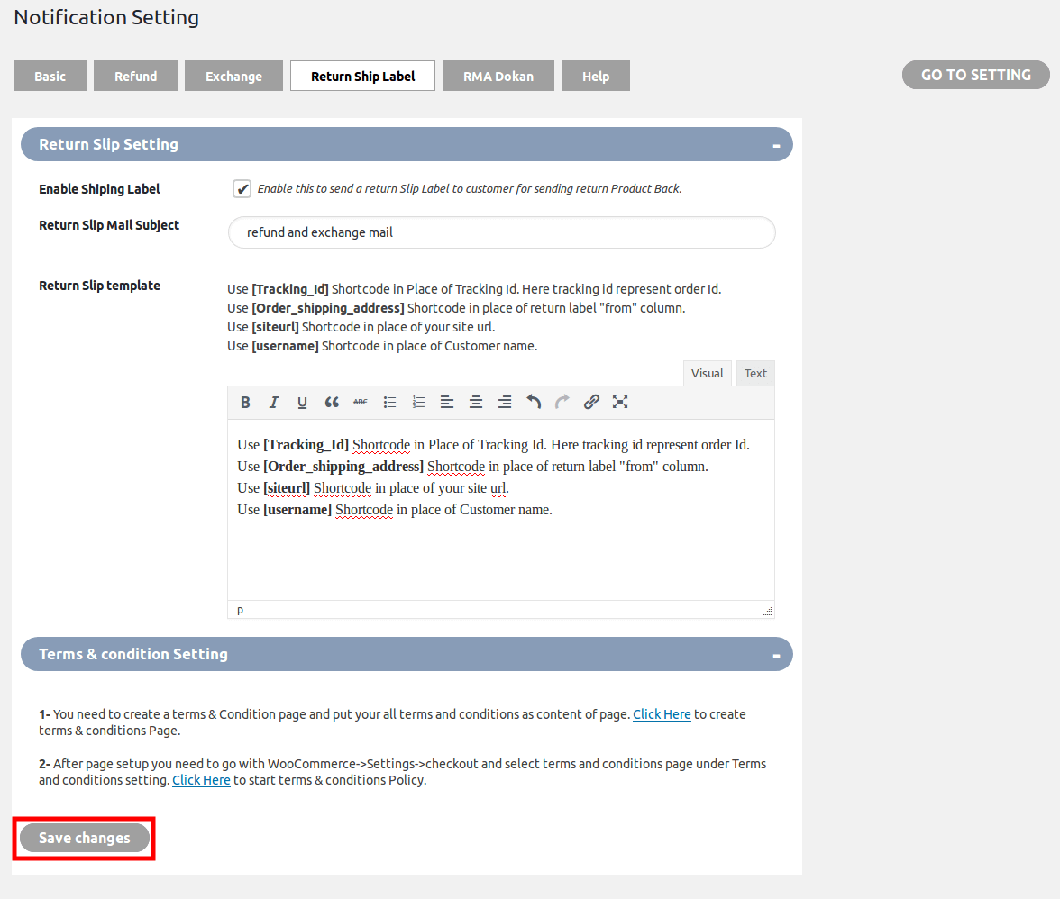WooCommerce Refund & Exchange Dokan Addon - notification return ship label