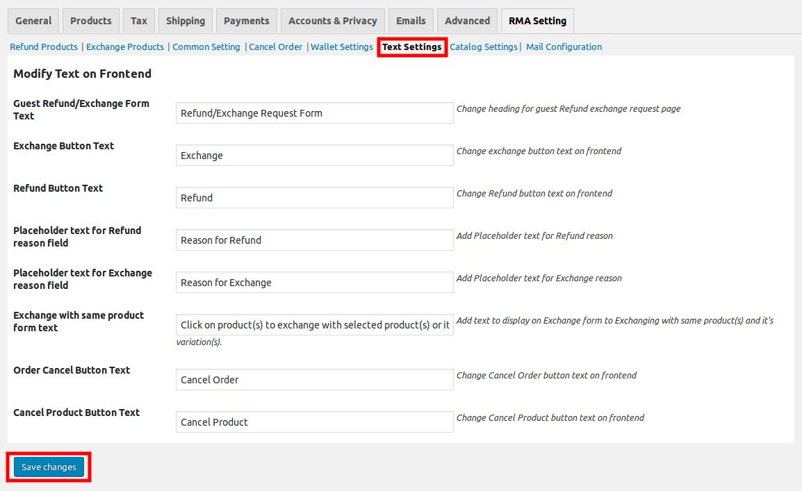 WooCommerce Refund & Exchange Dokan Addon - text setting