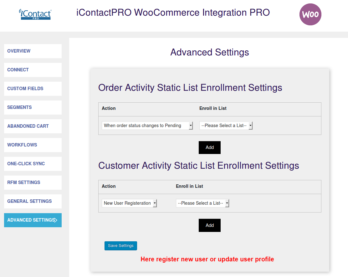 iContact-WooCommerce-Integration- Advanced Settings