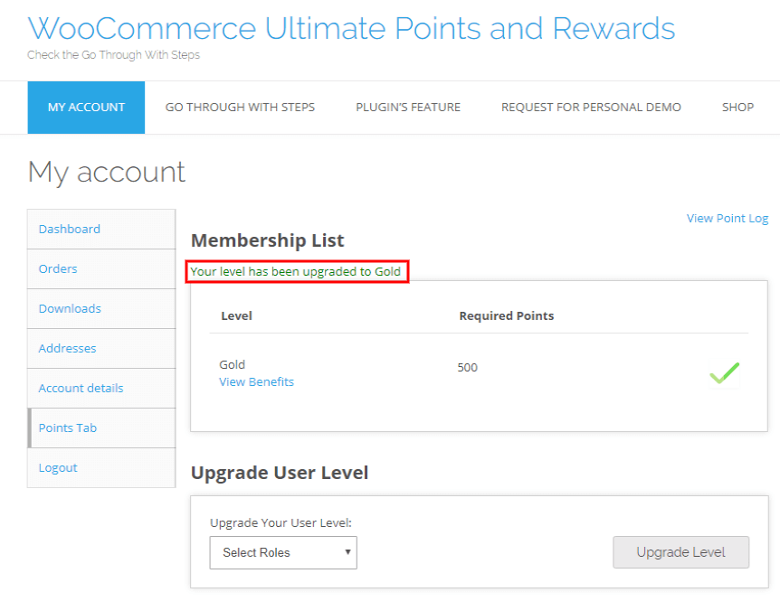 woocommerce points and rewards-enter-view-upgrated-level